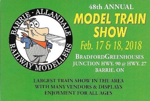 UPCOMING EVENT: 2018 Barrie-Allandale Model Train Show