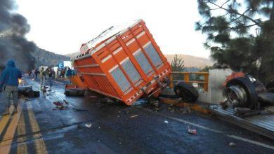 Photo of Tremendo choque de camiones en autopista Siglo XXI