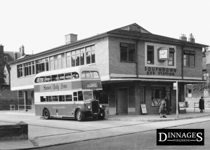 Lewes Bus Station circa 1955 Southdown Motor Services Leyland TD5 GCD354 Brighton-Eastbourne Service 25