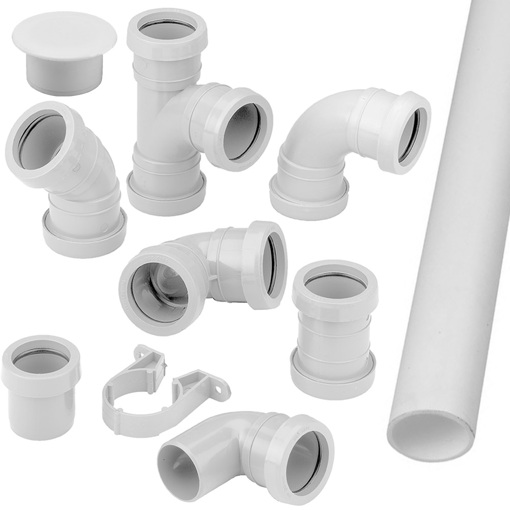 Pushfit Waste Pipe Fittings Connectors Bends Branches