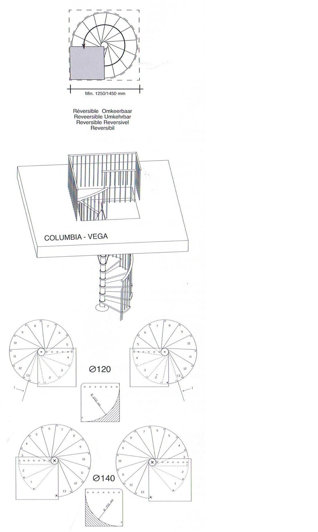 is aan te passen voor rond trapgat baluster leuning metaal