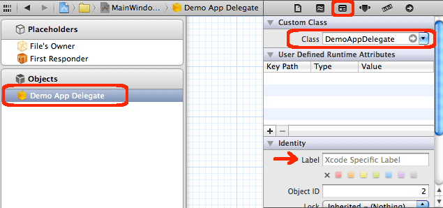 Change class of the object to xAppDelegate