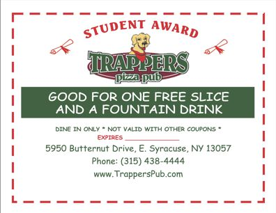 Trappers Pizza Pub - free slice & soda - Student Award