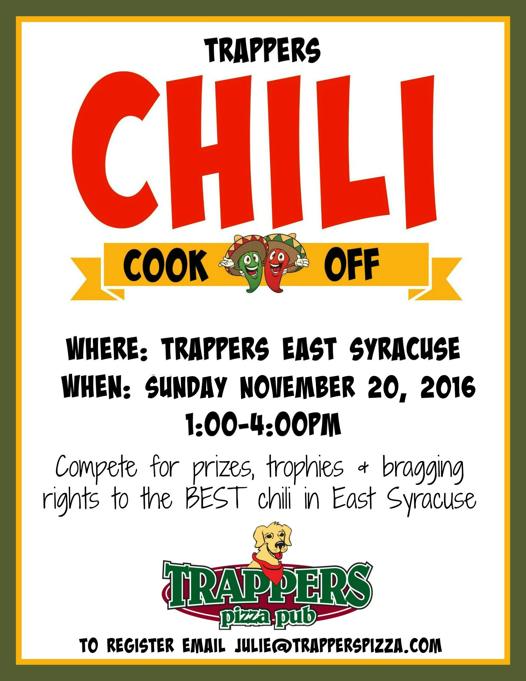 Trappers 2nd annual chili cook off trappers pizza pub trappers chili cook off saigontimesfo
