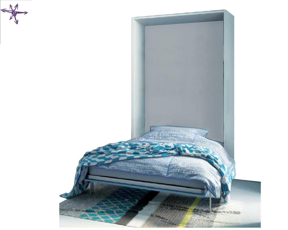 Letto piazza e mezza ribaltabile in verticale con pouf letto