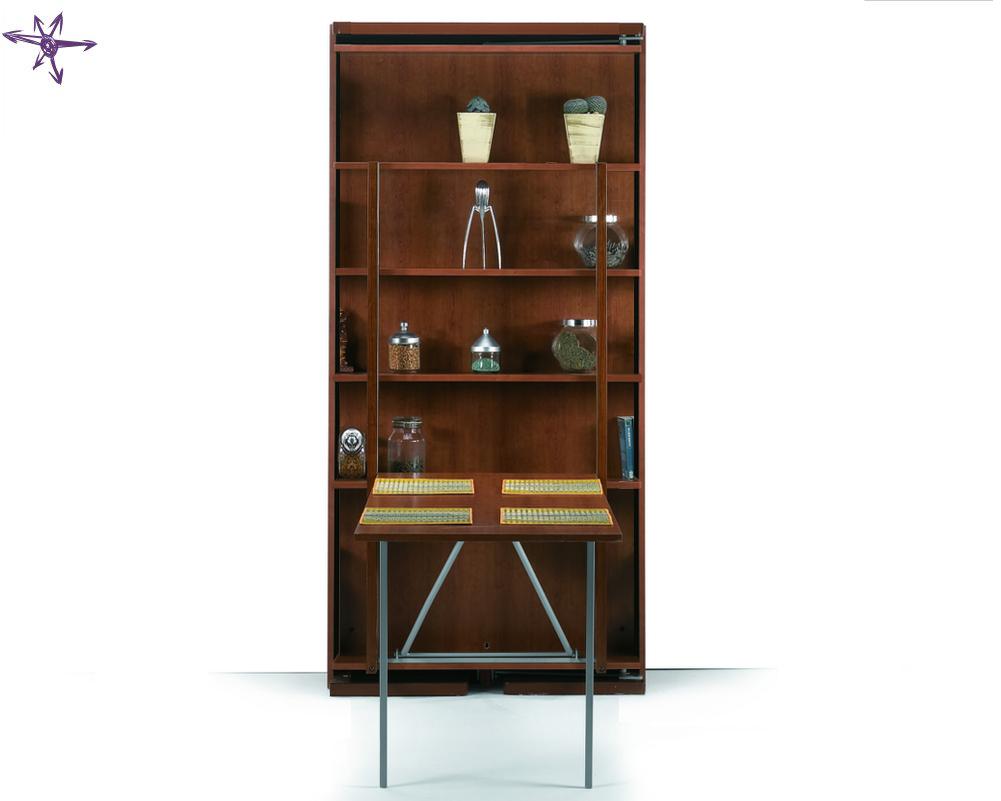 Girevole singolo con tavolo a ribalta e libreria integrata