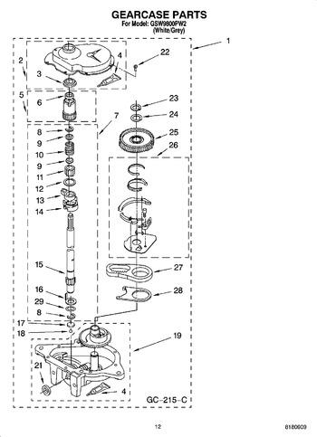 GSW9800PW2 Parts List