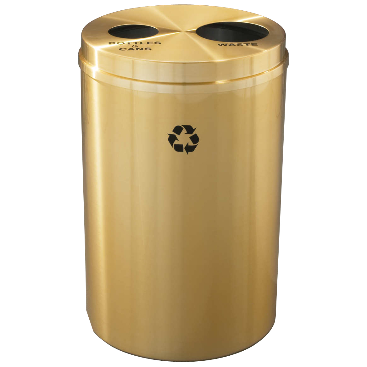 Glaro DualPurpose Waste  Recycle Bin in Satin Brass