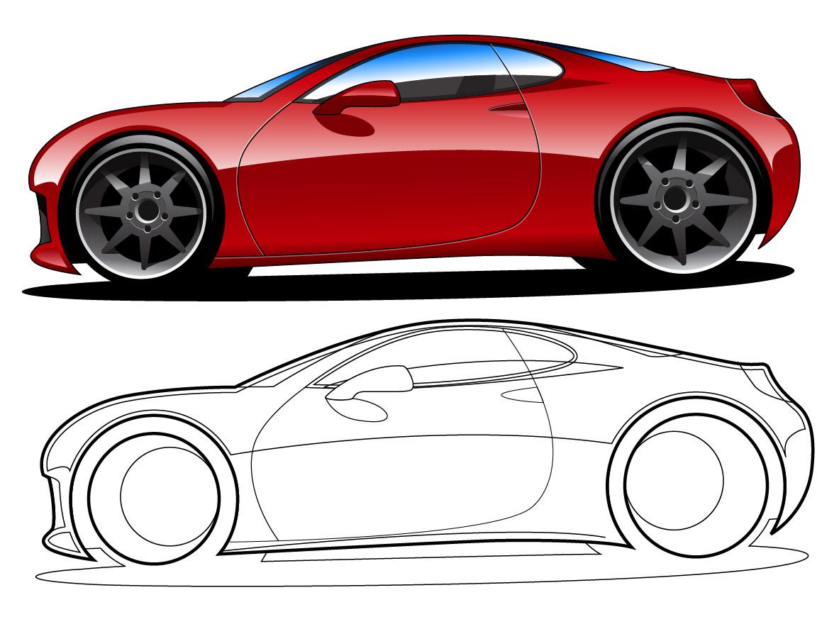 red vector car illustrations