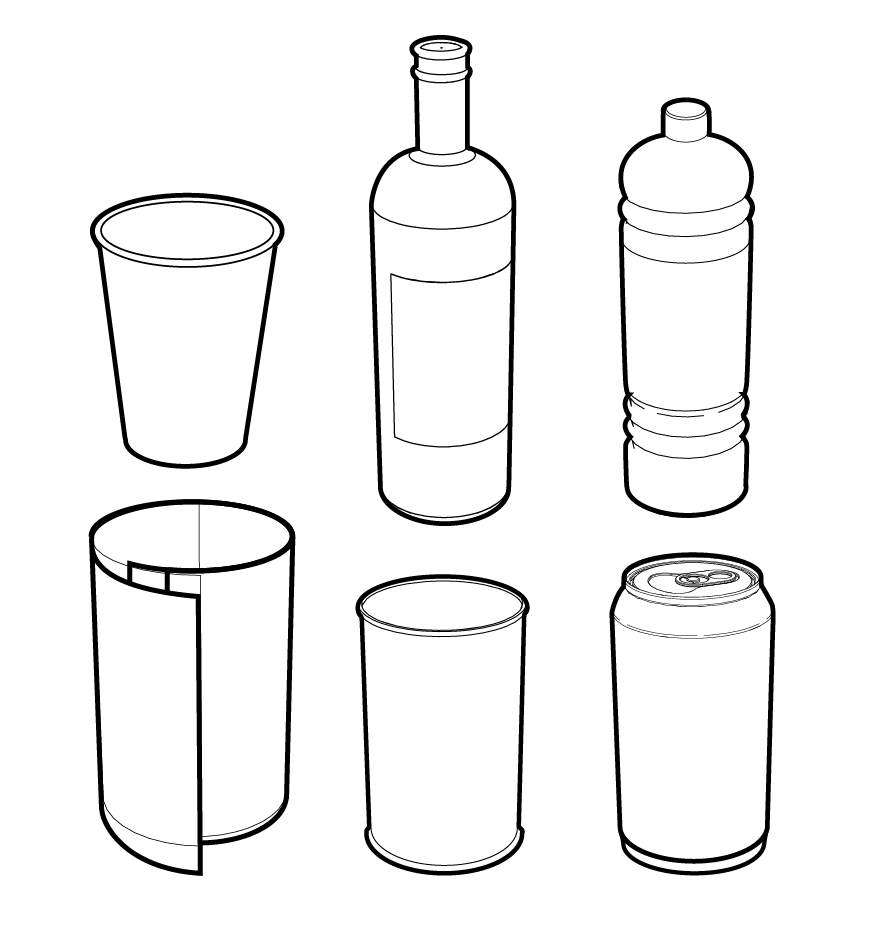 Vector line drawings of cans, bottles, and cups