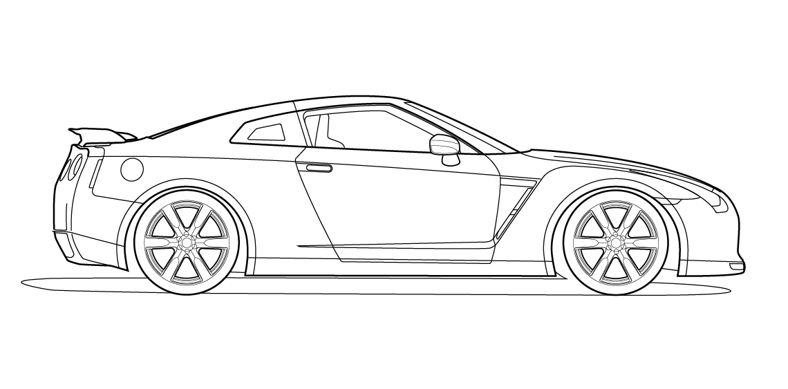 Side view vector line drawing of a Nissan GT-R