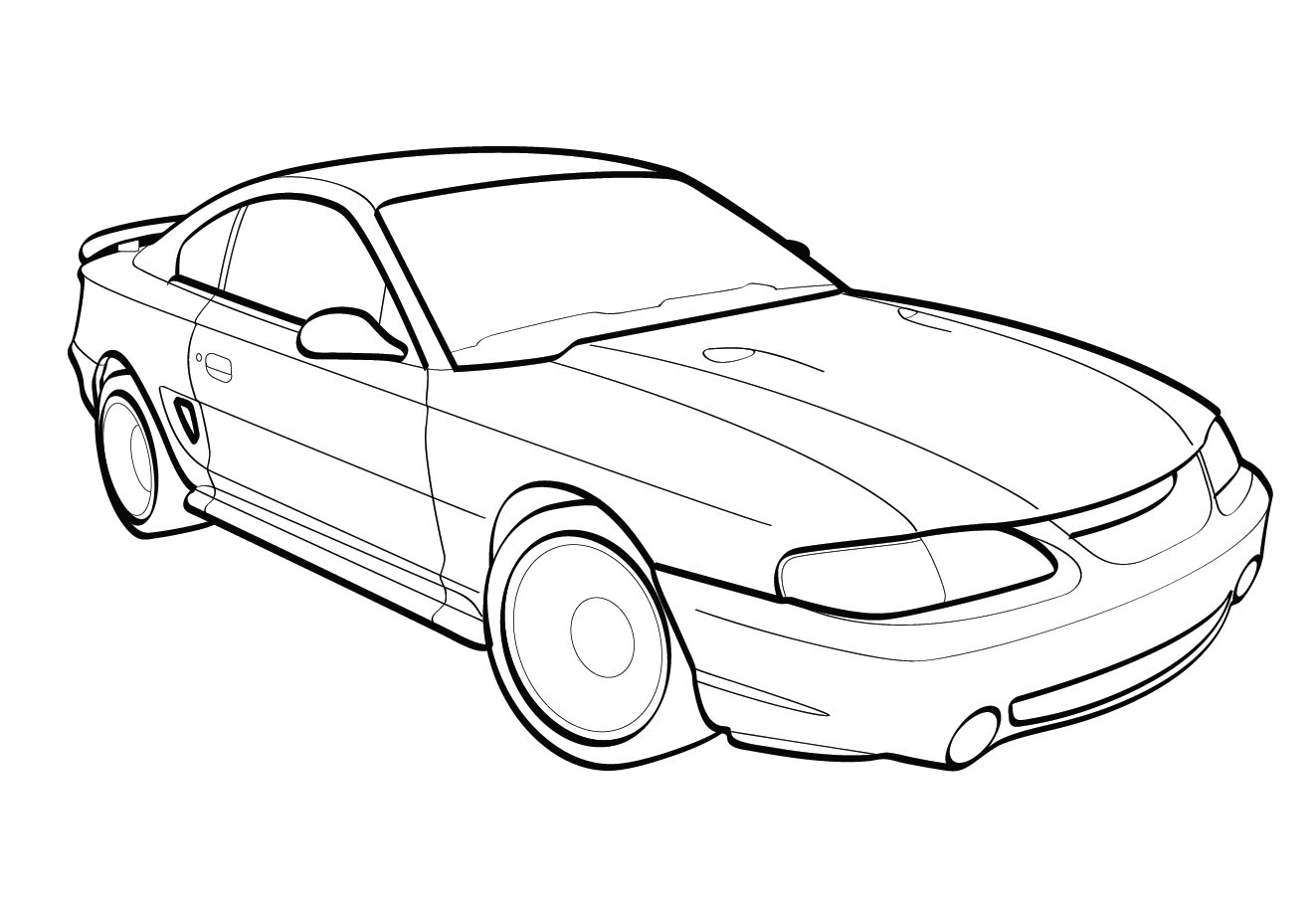 Vector line drawing of a 1998 Ford Cobra Mustang