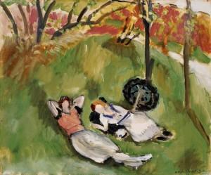 Dos figuras reclinadas en un paisaje Imagen tomada de: http://pintores.vtrbandaancha.net/Matisse1/images/Paisaje%20con%20dos%20figuras%20reclinadas-1921_jpg.jpg
