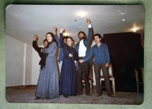 Presentación de La Madre de Máximo Gorki. En la foto: Reina Sánchez, Antonietta Mércuri, Delio Duque, José Joaquín Montoya, Juan Morales. Archivo Reina Sánchez