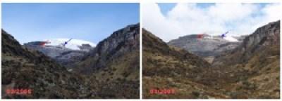 Foto del nevado Santa Isabel donde se muestra la disminución de su masa glaciar en los años 2006 – 2007. Tomada de: Proyecto EAM.