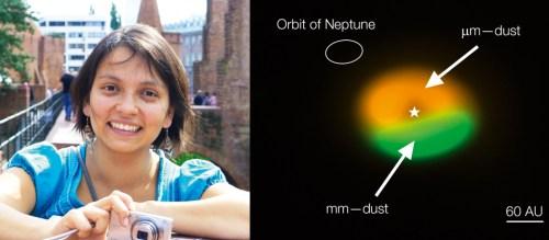 Paola Pinilla, magíster en física de la Universidad de los Andes. Doctora en astronomía de la Universidad de Heidelberg, Alemania y la imagen obtenida por Alma del disco protoplanetario IRS48. La región verde señala la zona en la que se encuentran las partículas demayor tamaño.