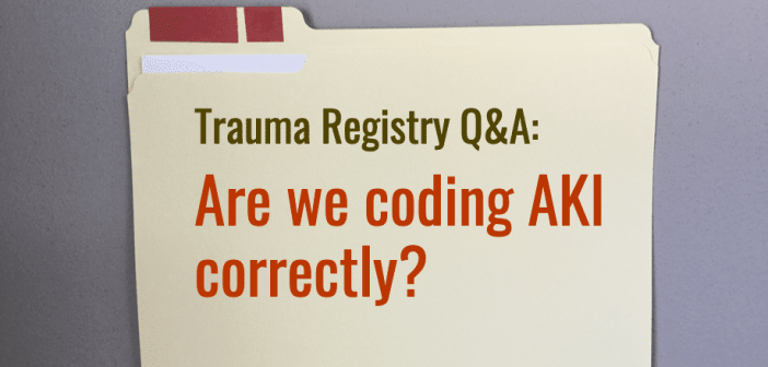 Are we coding acute kidney injury (AKI) correctly?