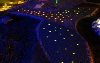 Glassplitt mit Lichtleitfaserbeleuchtung