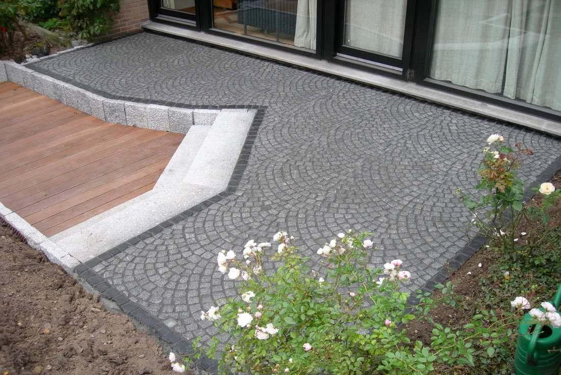 Terrasse gestalten Hartholz Granit
