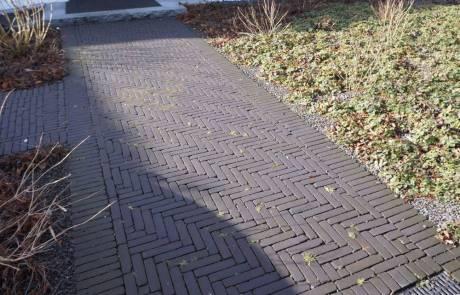 Hauszugang aus Pflasterklinker in braun-schwarz