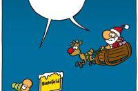 """Comic von Ruthe: Ortsschild Bielefeld, drüber schwebt der Weihnachtsmann im Schlitten und sagt """"Gibt's doch gar nicht"""", genauso wie ein Mann, der neben dem Schild steht und zum Weihnachtsmann schaut"""
