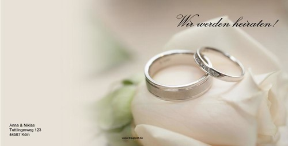 Hochzeitseinladung mit Silberringen auf weier Rose
