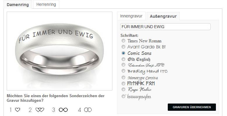 Schriften Ringgravuren  Die ganze Welt der Trauringe  TrauringShop24de