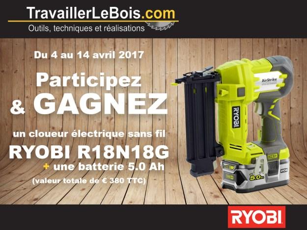 Concours cloueur électrique RYOBI R18N18G