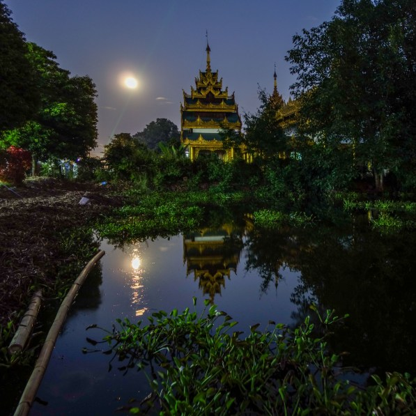 Full moon at a temple in Kengtung, Myanmar