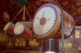 Prayer drums in a temple in Kengtung