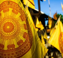 Yellow flags in front of a temple in Chiang Mai