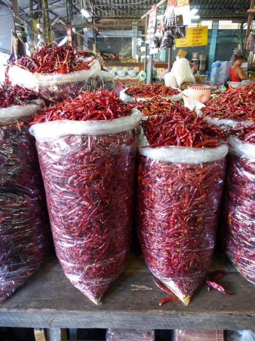 Bags full with chillis in Chiang Rai