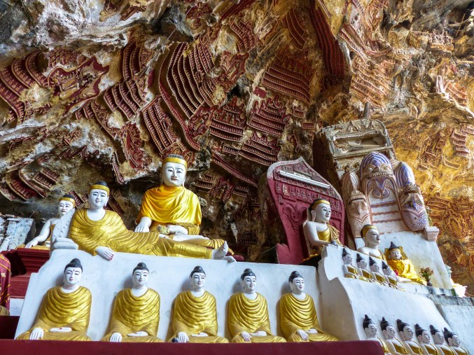 Buddha statues and votive tablets in Kawlgoon Cave near Hpa-An