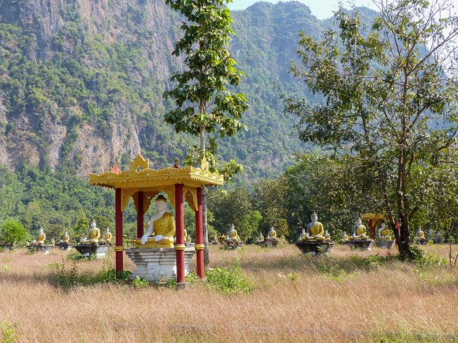 Hundreds of Buddha statues at Lonebin garden close to Hpa-An