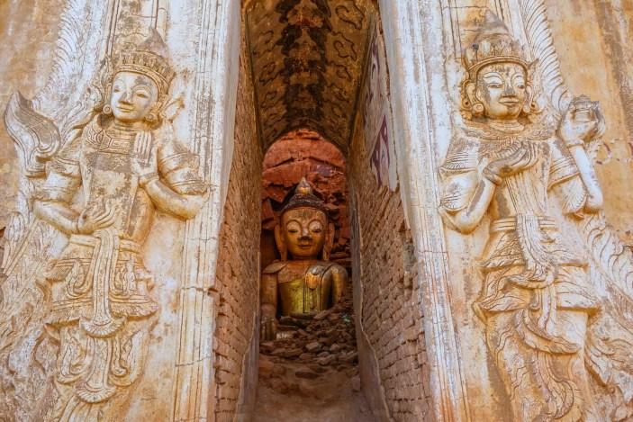 Buddah in pagoda ruin at In Dein, Inle Lake, Myanmar (Burma)