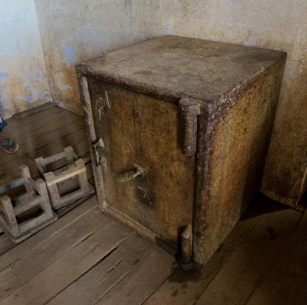 Heavy, old colonial safe in Loi-Mwe post office