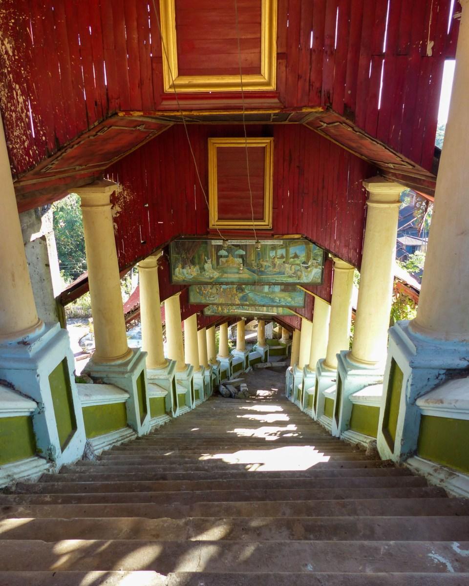 Stairway leading to the Kyaikthanlan pagoda in Mawlamyine