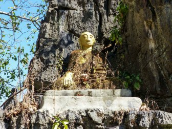 Shrine on needle shaped rock Kyauktalon Taung