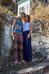 Maria with a burmese local on Kyauktalon Taung