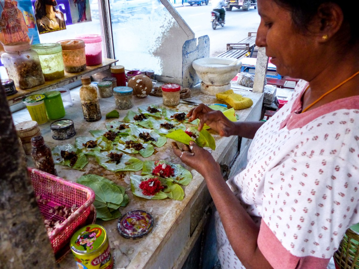 Dried betel nut and other ingredients are added as filling