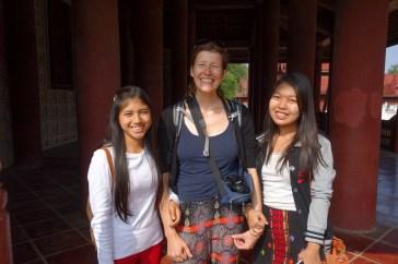 Mandalay Royal Palace - Maria and two german students Christian Jansen & Maria Düerkop