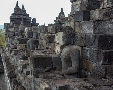 Yogyakarta - Borobodur temples: Amazing stone mason artwork at the outer walls Christian Jansen & Maria Düerkop