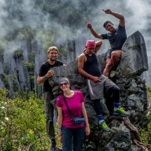 Mulu National Park - Fish, Harry, Maria and Chris at the Pinnacles Christian Jansen & Maria Düerkop