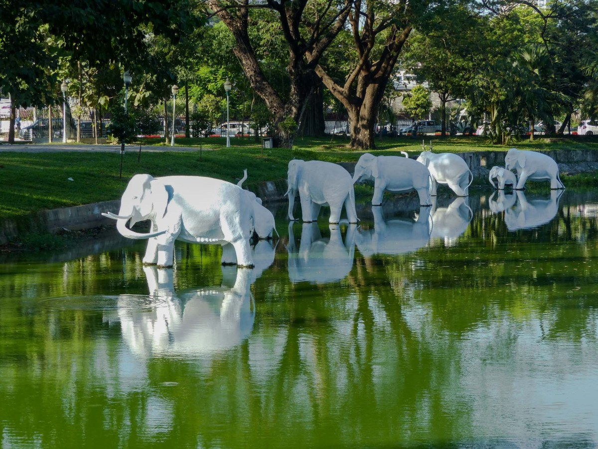 Yangon - Elephant statues on central lake Christian Jansen & Maria Düerkop