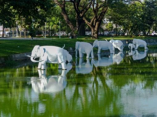 Yangon - Elephant statues on central lake Christian Jansen & Maria Düerkop