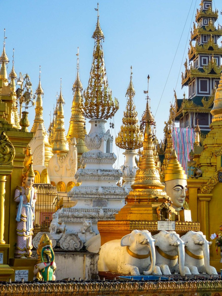 Yangon - Golden and white stupas at Shwedagon pagoda Christian Jansen & Maria Düerkop