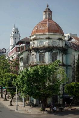 Yangon - Colonial building at the street corner Christian Jansen & Maria Düerkop