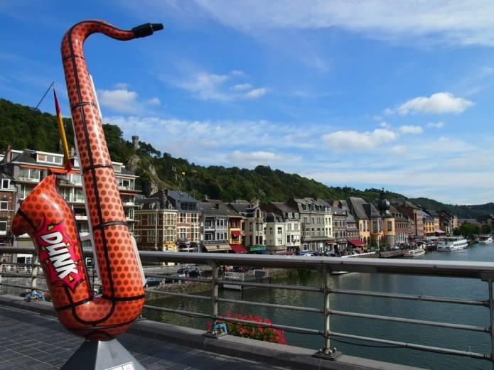 Saxophone Statues on the Bridge across the Meuse in Dinant, Belgium