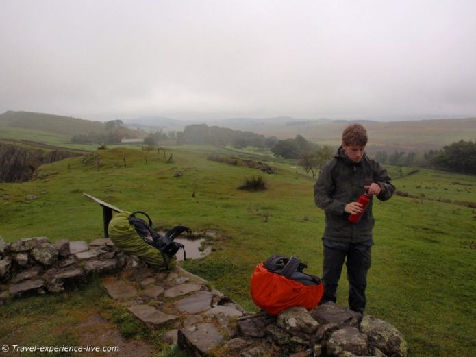 Taking a break on the Hadrian's Wall Path