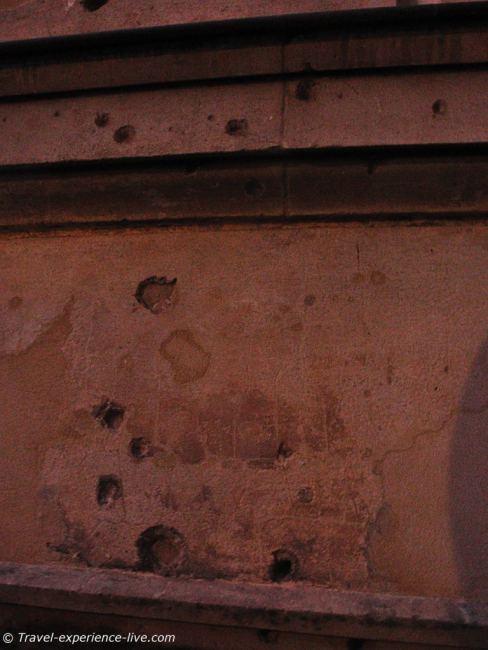 Bullet holes in museum wall, Berlin.